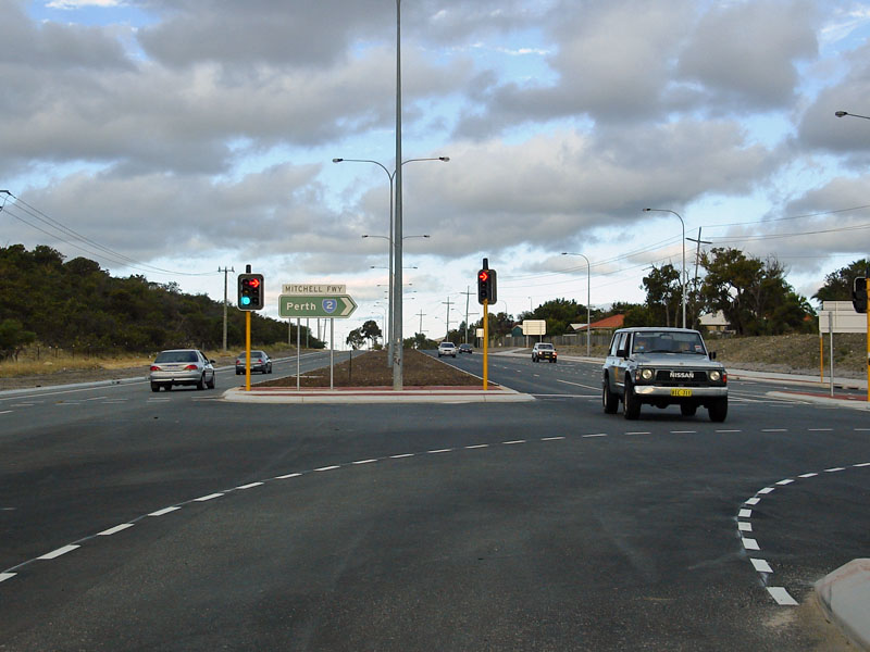 Looking Eastbound On Burns Beach Road Sr At Joondalup At The On Ramp To The Mitchell Freeway November