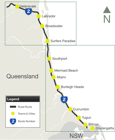 Road Photos Information Queensland Gold Coast highway State