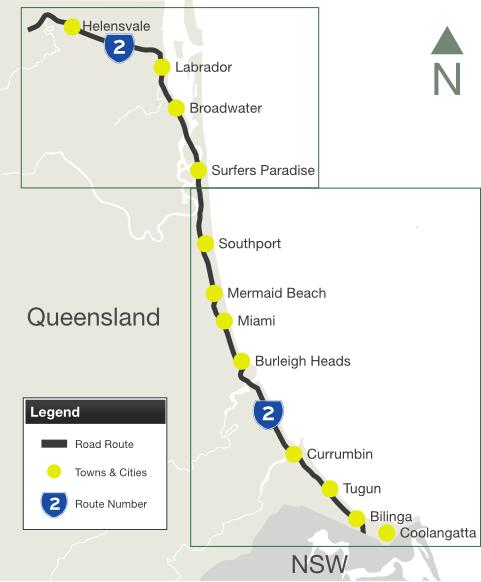 Road Photos Information Queensland Gold Coast highway State